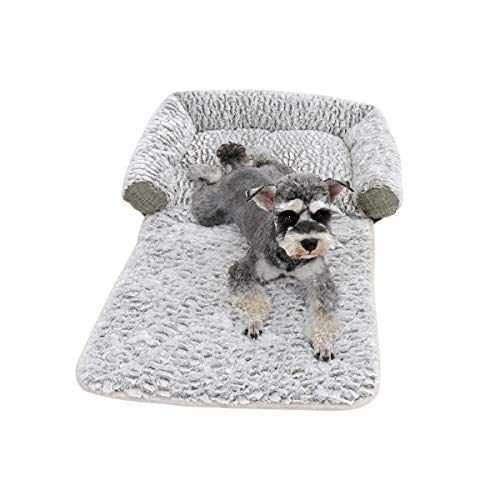 PAWZ Road 4 IN 1 Dog Sofa Cushion Bed Washable Collapsible Pet Blanket Mat Cave with Pillow Pad Multiple Function Sofa for Dog Cat and Other Animal Brown-grey 70 * 45 * 17cm
