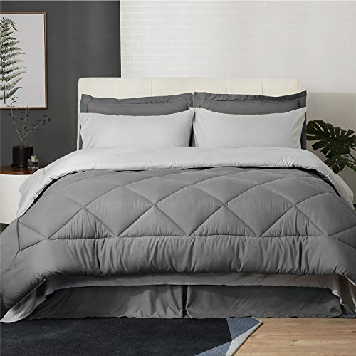 Bedsure Twin XL Size Bed in A Bag, Dark Grey/Light Grey - Soft Microfiber, Reversible Bed Comforter Set 6 Pieces (1 Comforter, 1 Pillow Shams, 1 Flat Sheet, 1 Fitted Sheet, 1 Bed Skirt, 1 Pillowcases)