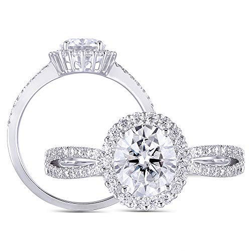DovEggs Platinum Plated Silver Center 1ct 6X7mm Vintage Oval Cut G-H-I Color Moissanite Halo...