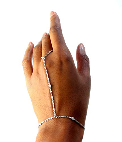 Cubic Zirconia Diamond Bride Ring Bracelet Hand Chain, Slave Bracelets for women, Gypsy Jewelry (silver, rhodium-plated-brass)