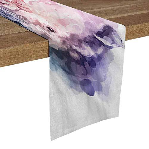 SoSung Table Runner for Living Room 16x72 Inch Watercolor,Safari Animal Rhino Dresser Scarfs and Runners for Bedroom Dining Room Kitchen Table Decor,Outdoor or Indoor Parties