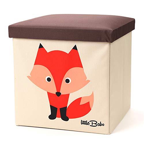 little Babo Faltbare Aufbewahrungsbox Kinder - groß & stabil zum sitzen - Spielzeug-Kiste mit Deckel - Aufbewahrung im Kinderzimmer - Regal-Korb - Storage Box - Aufbewahrungskorb Kinderzimmer (Fuchs)