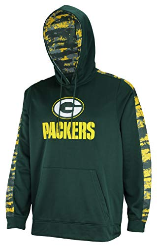 Zubaz NFL Men's Performance Pullover Hoodie with Oxide Sleeves, Green Bay Packers Large