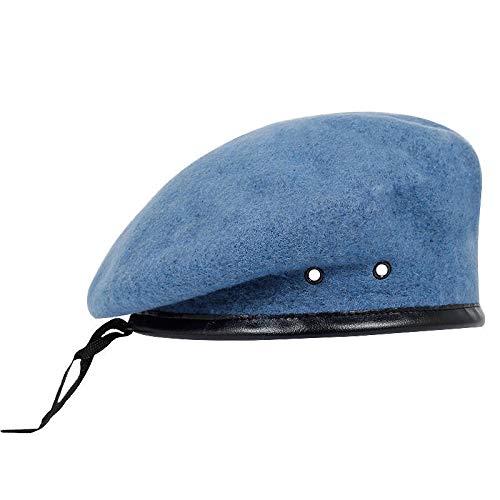 YXHUI Top Calidad de la Lana de Las Fuerzas Especiales Boinas Militares Gorras Militares for Hombre de Lana Gorros Exterior Transpirable Soldado de Entrenamiento Militar Boinas (Color : Sky Blue)