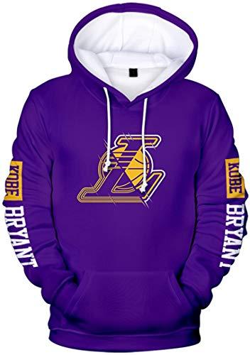 Silver Basic Felpa con Cappuccio R.I.P.Lakers Super Star Kobe Bryant e Gigi Unisex Moda Maglione Manica Lunga,Viola Logo L-3,S