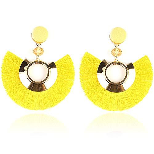 Pendientes Para Mujer Bohemia Amarillo En Forma De Abanico Borla Pendientes Colgantes Damas Chica Día De San Valentín Regalos De Fiesta De Cumpleaños Joyería De Moda Para El Oído