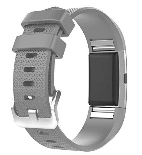 Greenwind Reloj de Pulsera Inteligente Nueva Correa de Correa de Pulsera de Silicona Deportiva de Moda para Fitbit Charge 2 Gris