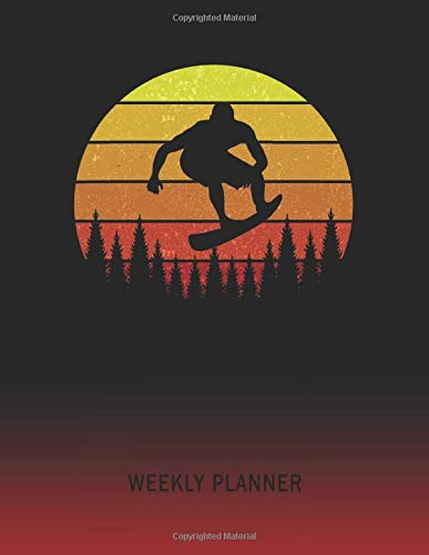 Weekly Planner: Snowboard | 2021 - 2022 | Plan Weeks for 1 Year | Retro Vintage Sunset Cover | January 21 - December 21 | Planning Organizer Writing ... | Plan Days, Set Goals & Get Stuff Done