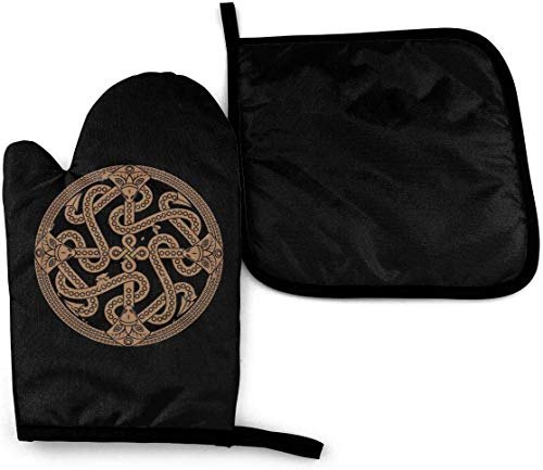 Ancient Decorative Dragon Celtic Style Knot Kitchen Oven Mitts Pot Holders Oven Gloves Kitchen Counter Safe Mats Cooking BBQ Baking Grilling