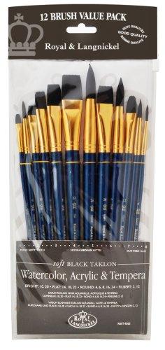 Royal and Langnickel RSET-9302 - Set di pennelli in varie misure con setole morbide in taklon, confezione da 12 pezzi, colore: nero