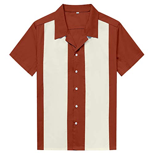 Candow Look Camisa Hombre Two Tone Contast Color Casual Shirts(3XL,Sienna+Ivory)