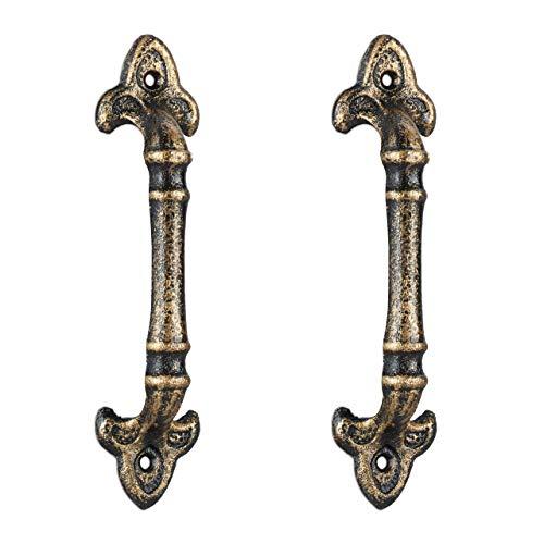 Relaxdays 2 tiradores de puerta de estilo vintage para armarios, cajones, de hierro fundido, 20 cm, color bronce
