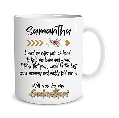 DKISEE Taza de madrina personalizada regalo padrino tía madrina amiga bautismo bautizo presente propuesta Will You Be My Godmother M598