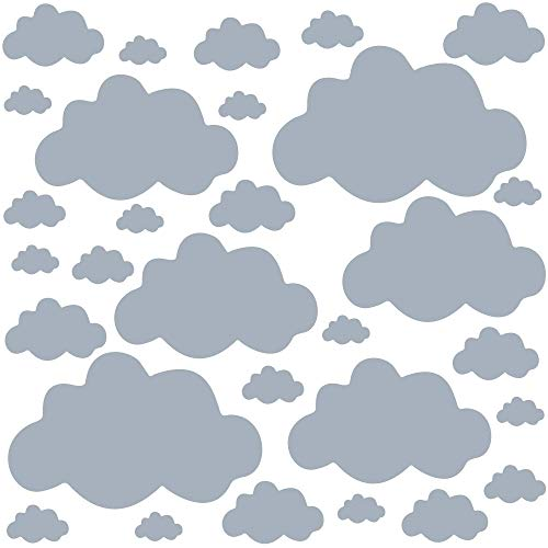 PREMYO 30 Nubes Pegatinas Pared Infantil - Vinilos Decorativos Habitación Bebé Niños - Fácil de Poner Gris