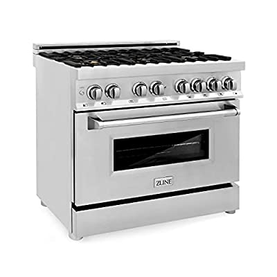 """ZLINE 36"""" 4.6 cu. ft. Dual Fuel Range with Gas Stove and Electric Oven with Color Door Options (RA36) (Stainless with Brass Burners)"""
