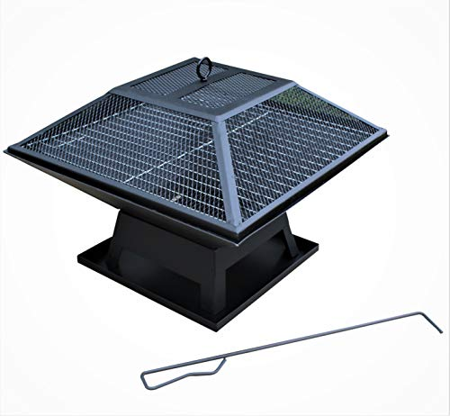 HH Home Hut Black Fire Pit Square Steel Table Patio Garden Heater Outdoor Folding BBQ Camping