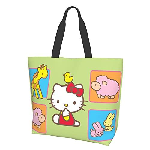 Hello Cartoon Kitty - Bolsa de conveniencia con un solo hombro, informal y versátil, ideal para ir de compras, trabajo y escuela a diario