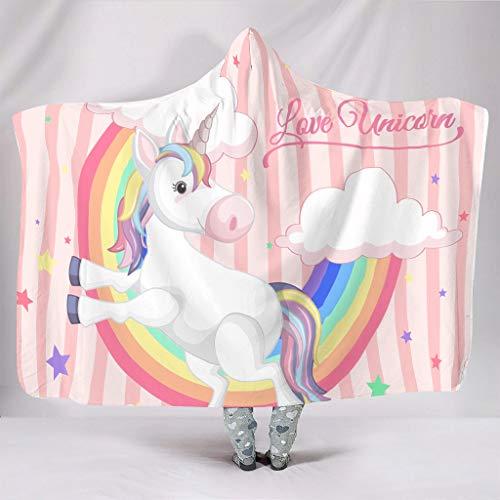LIFOOST Manta de peluche con diseño de unicornio arcoíris grande, supercálida, fresca, estilosa, apta para silla de sofá para adolescentes, regalo blanco, 150 x 200 cm