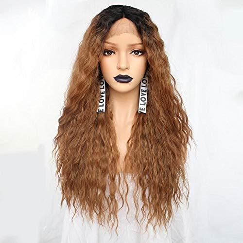 Lace front ombre blonde perruque 24 pouces long ondulé afro-américain synthétique perruques