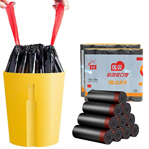 Molwen Müllbeutel mit Kordelzug - 10 Rollen / 150 Beutel, 45 x 50 cm, strapazierfähig, für Büro, Küche, Wohnzimmer, Schlafzimmer, Badezimmer
