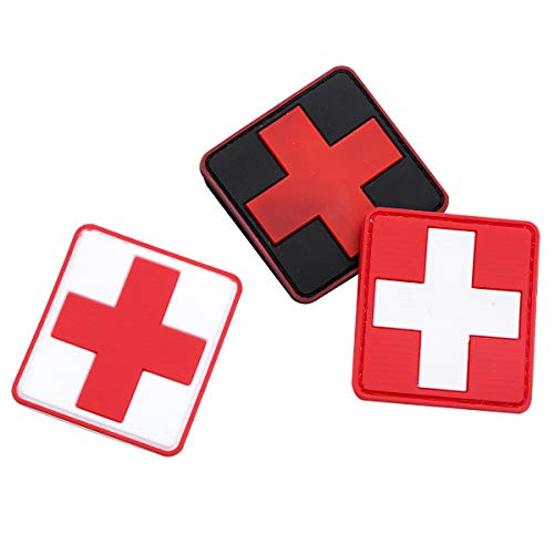Agoky Rotes Kreuz Aufkleber für Arzt Mantel Doktor Kittel Krankenschwester Pflegerin Uniform DRK Erste Hilfe Zeichen Mehrfarbig One Size