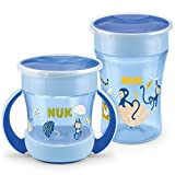 NUK Magic Cup Trinklernbecher Duo Set | Magic Cup 230ml + Mini Magic Cup 160ml mit Ergonomische Griffe | auslaufsicher 360° Trinkrand | BPA-frei | 6+ Monate | Affe (blau)