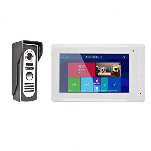 XINTONGSPP Doorbell, Sistema de Entrada de Portero de Video WiFi WiFi inalámbrico de 7 Pulgadas con visión Nocturna de cámara con Cable HD 1080P, admite la aplicación remota