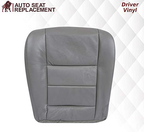 2003 2004 2005 2006 2007 Ford F250 F350 Lariat Synthetic Leather Seat Cover Replacement, Vinyl Seat Covers for Ford F250 F350 (Driver Bottom, Medium Flint (Gray))