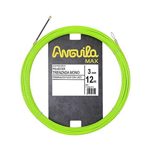Anguila Max 7.3300.012 Kabeldurchführung, speziell für Rohre, Polyester, geflochten, 3 mm, 12 m und feste Endstücke, Grün