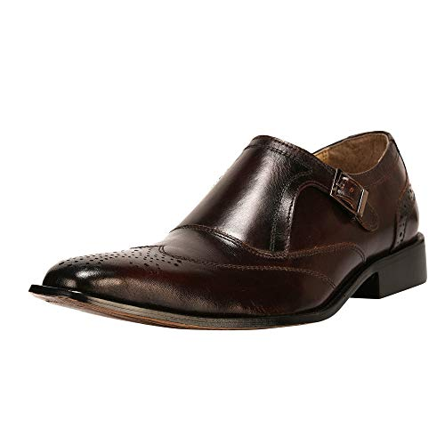 LIBERTYZENO Monk Strap Slip-on Loafer Mens Genuine Leather Formal Business Wingtip Brogue Dress Shoes Brown