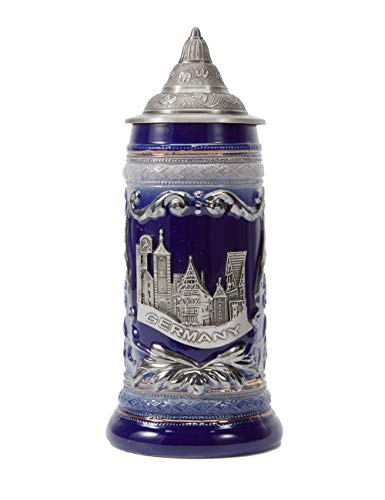 Amoy-Art Boccale da Birra Tedesco con Coperchio German Beer Stein Mug Relief Germania Città Regalo Souvenir Giftbox 0.6Litre