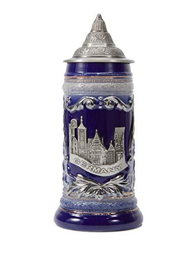 Amoy-Art Jarra de Cerveza Alemana Beer Stein Mug Deutschland Panorama de Berlin para Regalos Giftbox 0.6Litre German