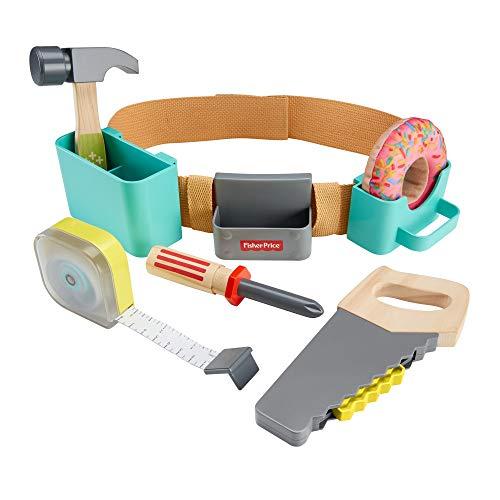 Fisher-Price GGT60 - DIY Werkzeuggürtel mit Spielzeug Werkzeug mit funktionierendem Maßband, Rollenspielzeug für Kinder ab 3 Jahren