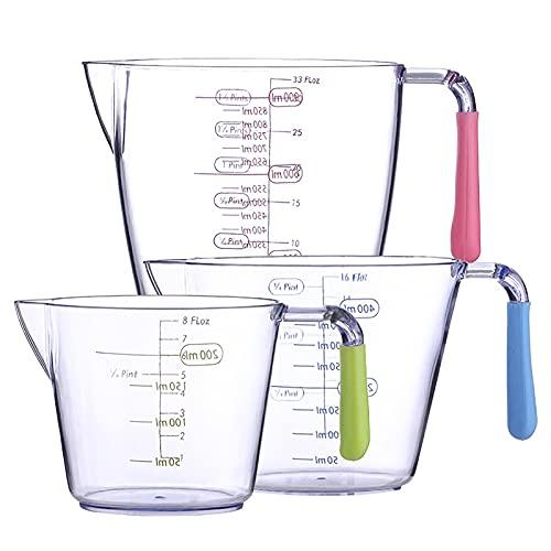solawill jarra medidora, 3 jarras medidoras de plástico, taza medidora plastico,taza medidora cocina,taza medidora transparente(200 ml, 400 ml, 900 ml)
