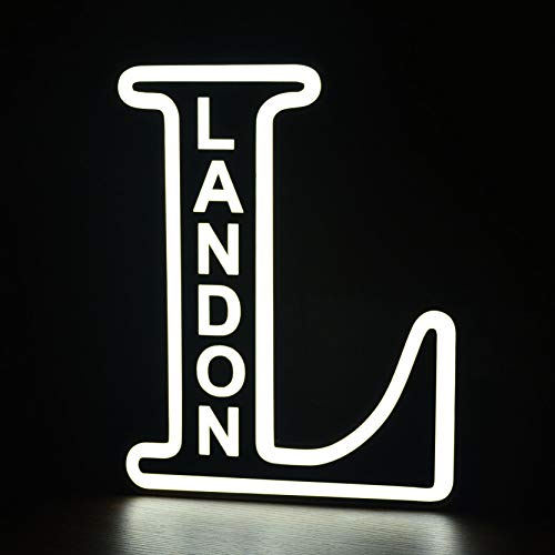 Nombre personalizado LED 26 Alfabeto iluminado Letras Letrero para luz nocturna Grabar nombres Boda Fiesta de cumpleaños Carga USB Lámpara de Navidad Decoración de la barra del hogar