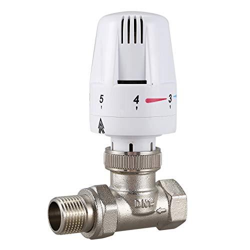 Facibom 1/2Inch Brass Thermostatic Radiator Valve Straight Type DN15 Automatic Temperature Control Valve Floor Heating