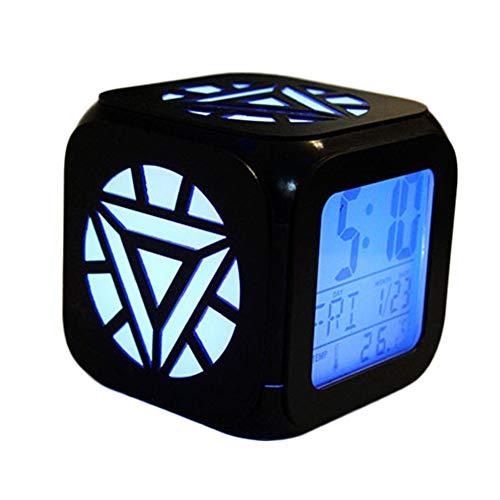 ZhangXF Sveglia Iron Man di Super Fashion, LED da Comodino con Luce Notturna Creativa 3D Stereo, con Ricarica USB Regalo di Compleanno con Sveglia Muto (Sette Colori),B:Batterybox+USBcable