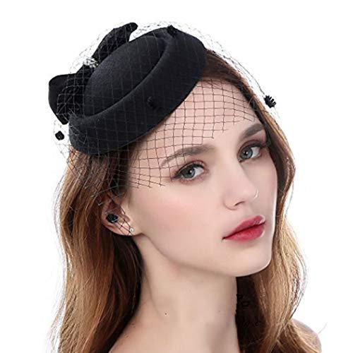 Bohend Années 1920 Perles Voile Engrener Bandeau Noir Fascinateur Pince à cheveux Casemate Chapeau Mariage Fête Haut thé Chapeau pour Femmes et filles (Noir)