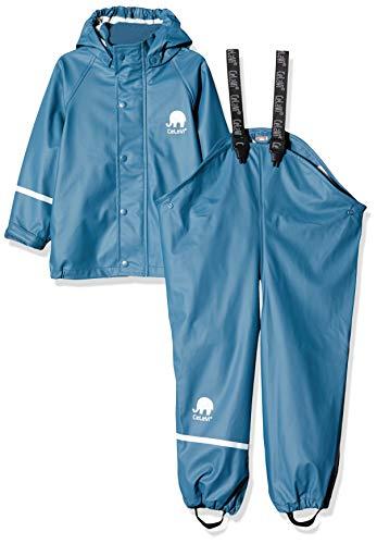 Celavi Kinder Unisex Regen Anzug, Jacke und Latzhose mit Hosenträgern, Alter 3-4 Jahre, Größe: 100, Farbe: Dunkelblau, 1145