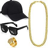 80s/ 90s Hip Hop Costume Kit Black Baseball Cap Sunglasses Gold Chain Dollar Sign Ring Rapper Accessories