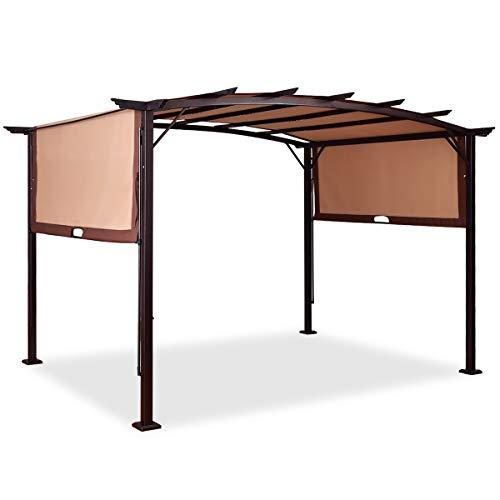 Tangkula 12' x 9' Pergola Gazebo Canopy Outdoor Patio Garden Steel Frame Sun Shelter with Retractable Canopy Shades