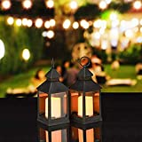Relaxdays Set de Dos faroles LED de jardín, Vela con Efecto de Llamas, Iluminación de Exterior, Colgante o de pie, 23 cm, Negro