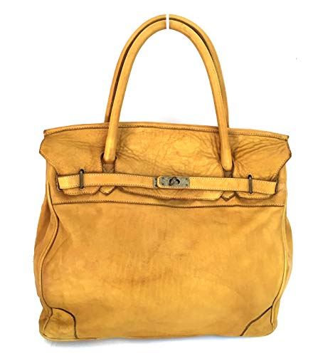Superflybags Borsa A Mano In Vera Pelle Vintage modello JETE Made In Italy