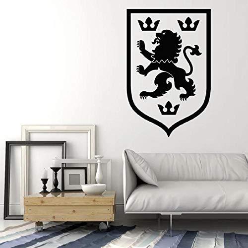 LovelyHomeWJ Logo Tatuajes de Pared Emblema heráldico Medieval Rey León Corona Vinilo Pegatinas de Pared Fresco Salón Dormitorio Decoración del hogar Mural 57x85cm