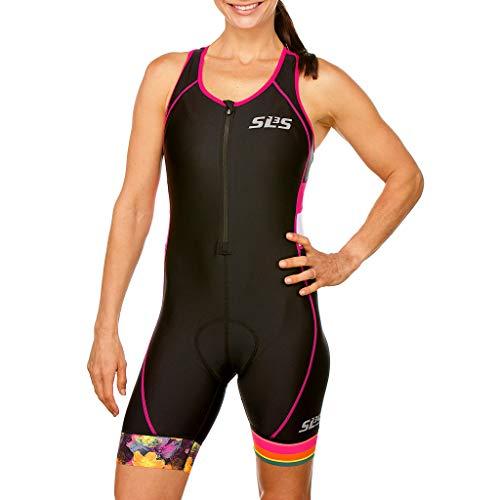 SLS3 Triathlon Einteiler Damen | FX Trisuit | Frauen Anzug | Womens Trisuit | Front Reißverschluss | Frauen Tri Suit 2019 (Black/Bright Rose, L)