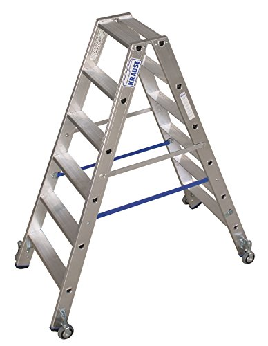 KRAUSE  lde845Stehleiter mit Rollen, 2x 6Treppe, 1.4m Höhe Leiter Trittstufe, 2.95m Höhe