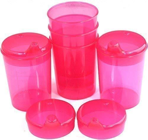 Schnabelbecher 250 ml Set 5 Unterteile + 10 Deckel (Öffnung 5 Stück 12 x 10mm u. 5 Stück 4 x 4mm) in versch. Farben von Medi-Inn (rot)