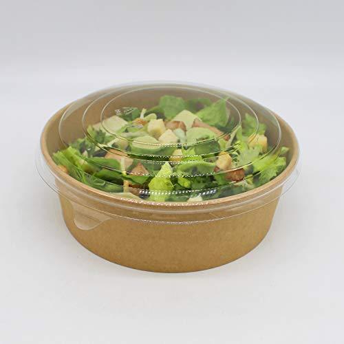 BAMI EINWEGARTIKEL 100 Stück Salatschale Bowl Pappschale Schale, Braun, rund, 540ml / 18oz MIT Deckel für Salat, Sushi, Nudeln, Gebäck - KOMPOSTIERBAR
