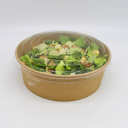 BAMI EINWEGARTIKEL 300 Stück Pappschale Einwegschale Salatschale Bowl to Go Box, Braun, Pappe, rund, 1250ml / 42oz MIT Deckel für Salat, Sushi, Nudeln, Gebäck - KOMPOSTIERBAR