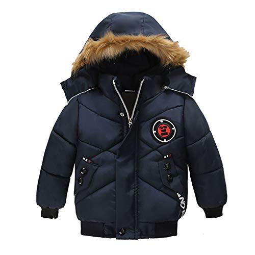 JKstore - Giacca con cappuccio per bambini, con cerniera, spessa e calda giacca invernale antivento Blu 2-3 Anni